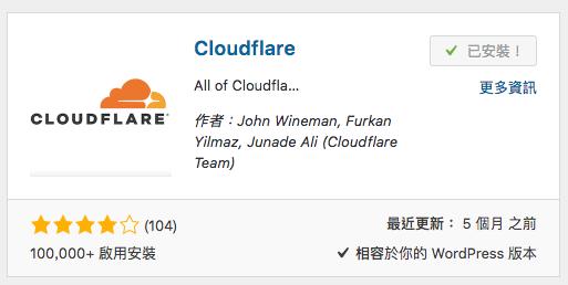 CloudFlare wordpress 外掛