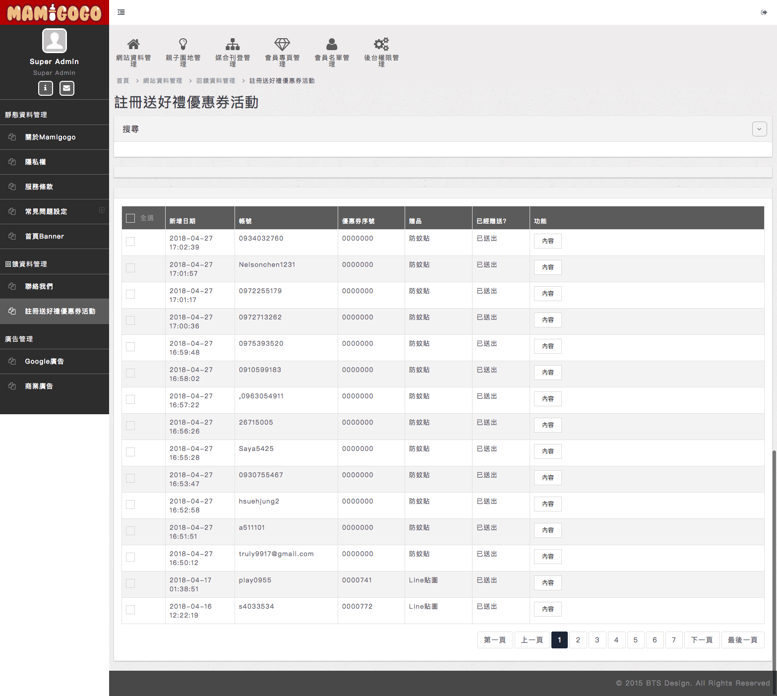 Mamigogo 後台列表